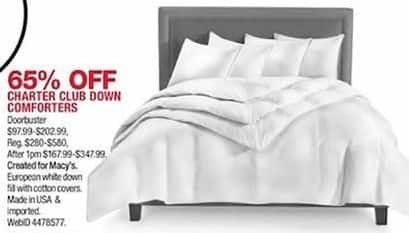 Macy's Black Friday: Charter Club Down Comforters   65% Off