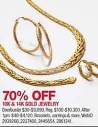 5c5f95bb589fa3 Macy's Black Friday: 10K and 14K Gold Jewelry: Bracelets, Earrings and More  - 70% Off