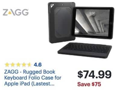 95d658d006a Best Buy Black Friday: ZAGG - Rugged Book Keyboard Folio Case for Apple iPad  for $74.99