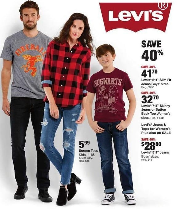 1526b73e818 Fred Meyer Black Friday  Levi s Women s 711 Skinny Jeans or Button Back Top  for  32.70