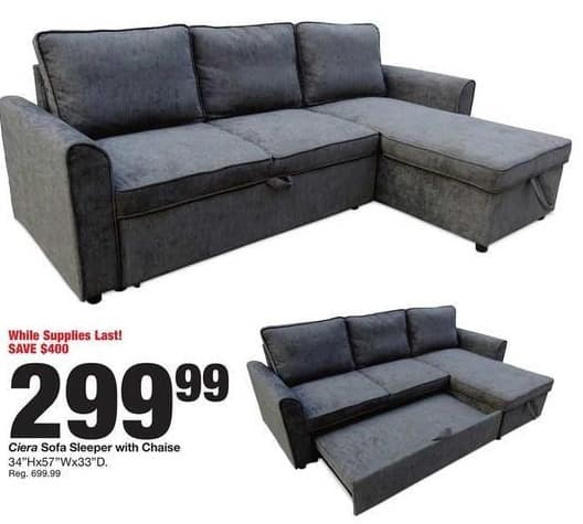 Fred Meyer Black Friday Ciera Sofa Sleeper With Chaise For 299 99