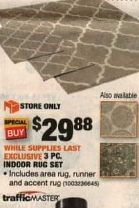 Home Depot Black Friday Traffic Master Indoor Rug Set 3 Pc