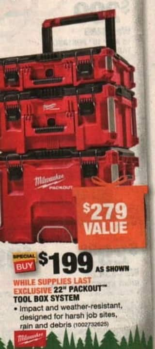 home depot black friday: milwaukee 22 in. packout modular tool box ...