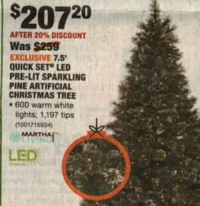 Home Depot Black Friday Martha Stewart Living 7 5 Ft Pre Lit Led