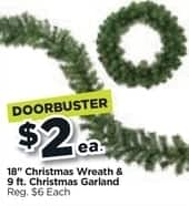 Michaels Black Friday 18 Christmas Wreath Or 9 Ft Garland 2 00