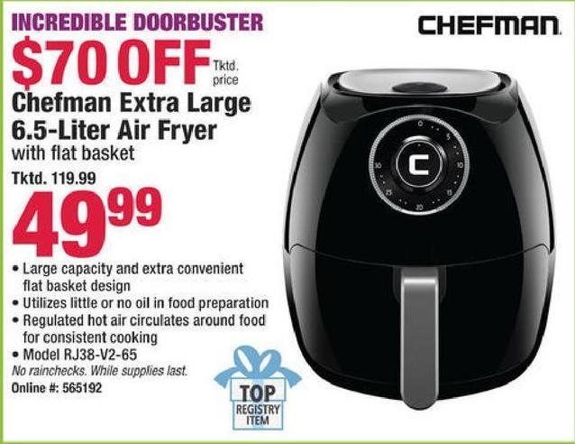 47f8d85877b Boscov's Black Friday: Chefman Extra Large 6.5-Liter Air Fryer for $49.99