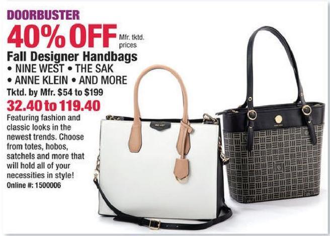 Boscov S Black Friday Fall Designer Handbags By Nine West The Sak Anne Klein