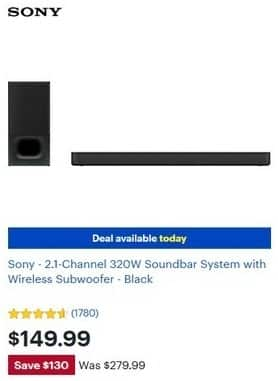 Best Buy Black Friday Sony 2 1 Channel 320w Soundbar System With Wireless Subwoofer Black For 149 99