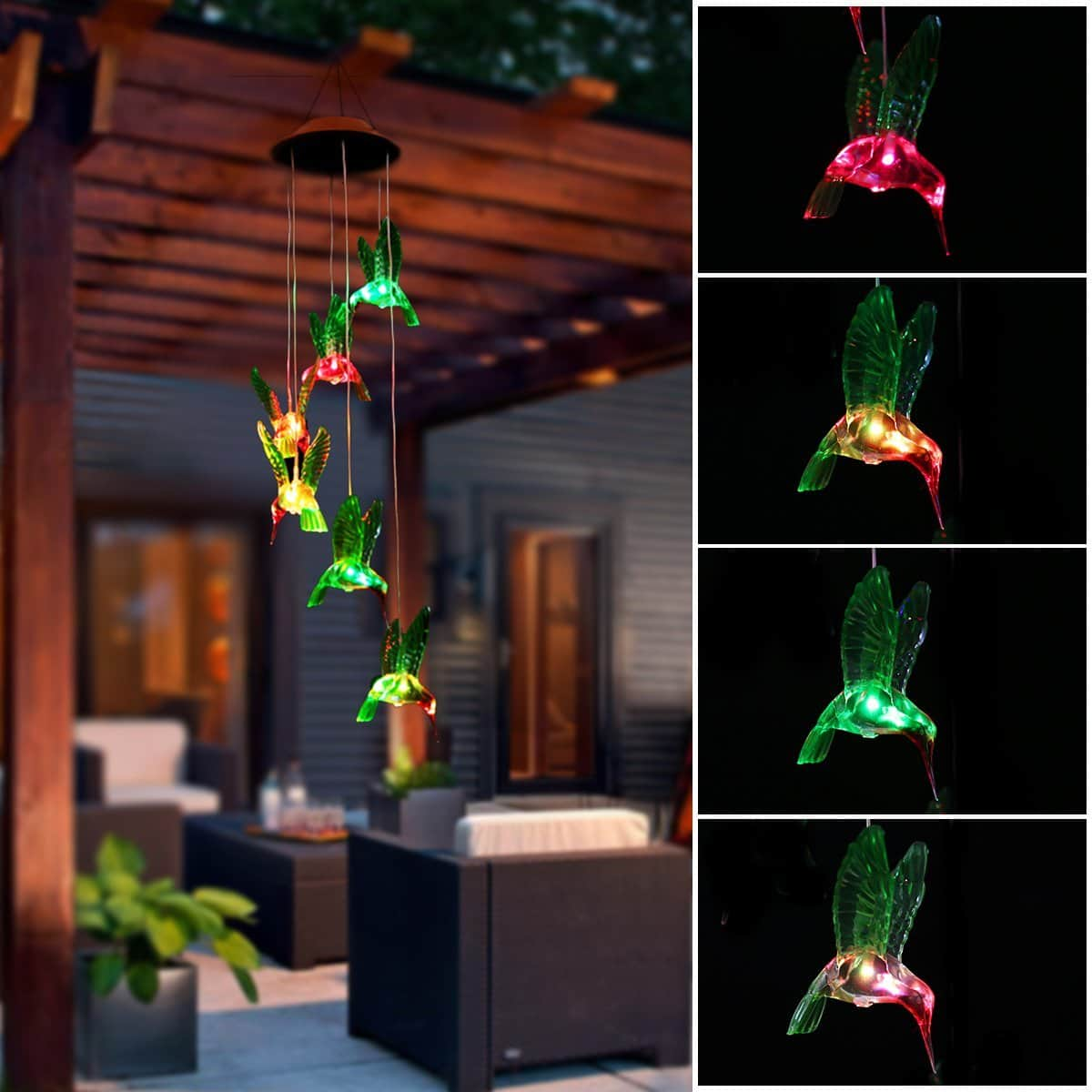 Color-Changing LED Solar Mobile Wind Chime, Pathonor LED Changing Light Color Waterproof Six Hummingbird Wind Chimes For Home/ Party/ Night Garden Decoration humming bird $18.42