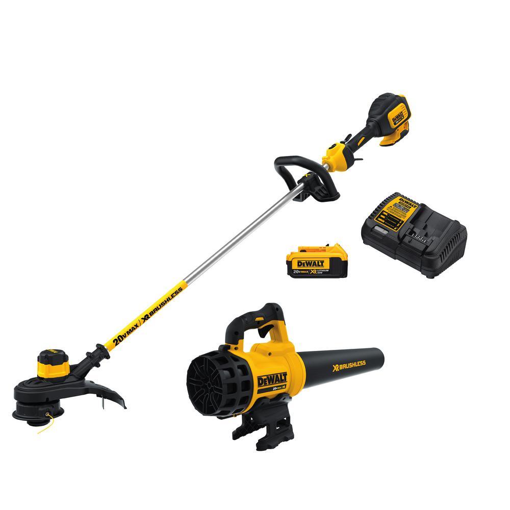 Dewalt 20v MAX Brushless String Trimmer + Blower + 4.0Ah Battery + Charger, Free Shipping $199