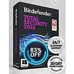 Bitdefender Total Security 2015 3 PC's 1 yr - $14.95