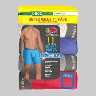 Fruit of the Loom Men's 5+6 (11 total) Super Value Pack Coolzone Boxer Briefs - Target in store - Clearance $7.49 (as low as $4.49) ymmv