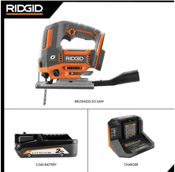 18V OCTANE Brushless Cordless Jig Saw Kit with Dust Port, (1) 2.0 Ah Battery and Charger by RIDGID @HomeDepot $139
