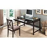 Wood Idabel Desk with Glass Top $199.99 + Free Shipping @groupon