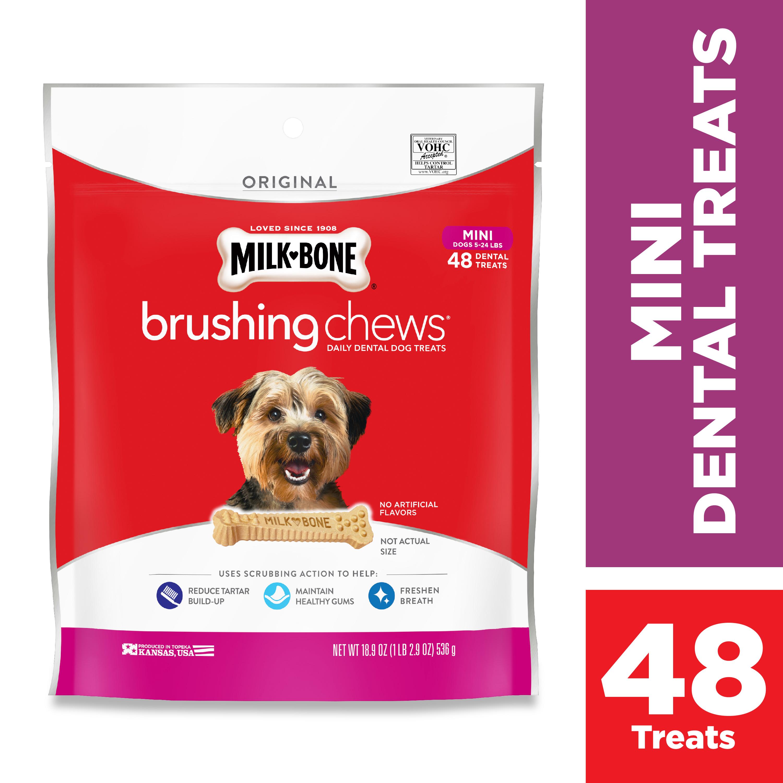 Milk Bone Brushing Chews Dental Dog Treat - Size Mini, 48ct $4.48