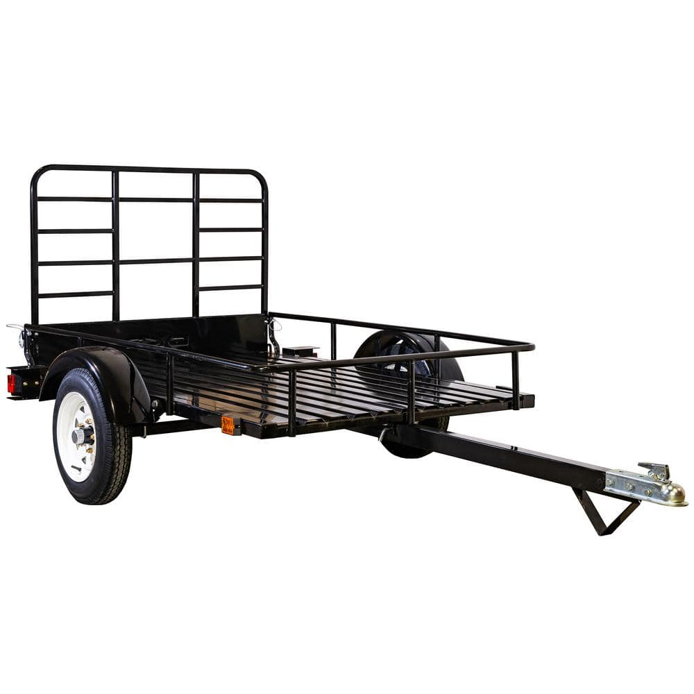 4 ft. x 6 ft. 1,295 lbs. Payload Capacity Open Rail Steel Utility Flatbed Trailer $529