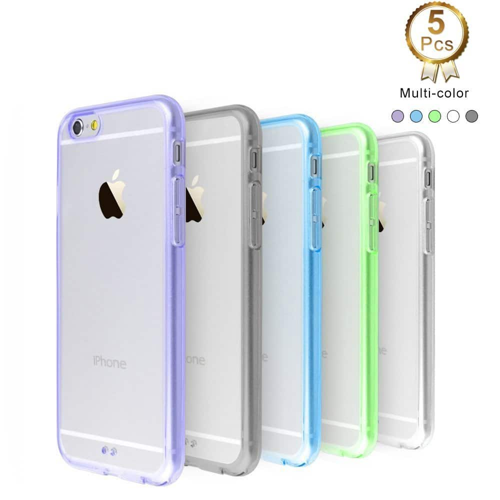 5-Pack iPhone 6/6S Case, Ultra Thin Slim Crystal Clear Back Panel with Rubber Bumper - $7.99 A/C