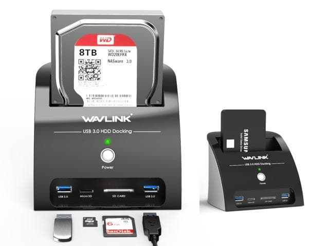 Hard Drive Docking Station with Card Reader and 2 Port USB 3.0 Hub $22.99