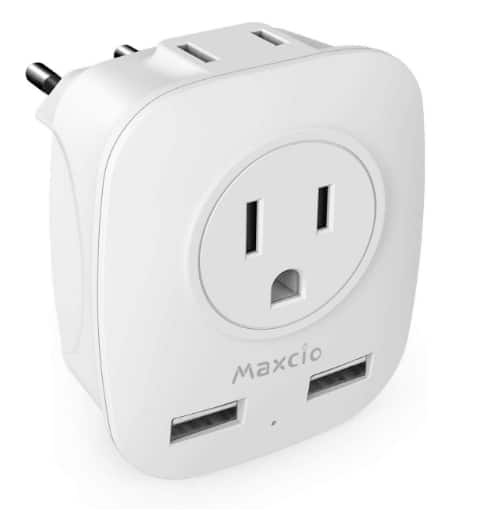 European Plug Adapter with 2USB, 4 in 1 International Travel Power Adapter $6.59