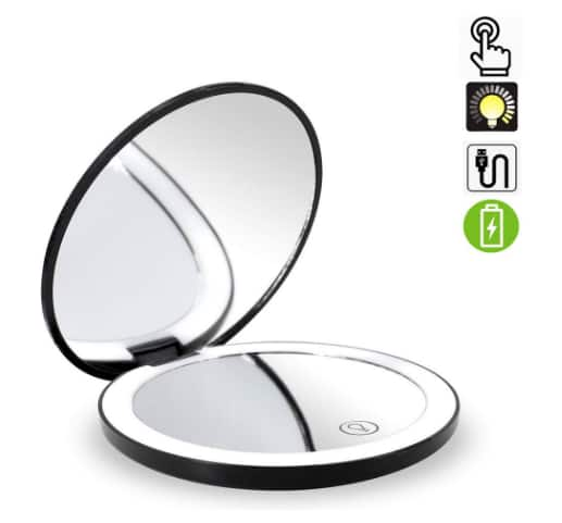Travel Lighted Makeup Mirror,7X/1X Magnification Compact Vanity Mirror $9.89