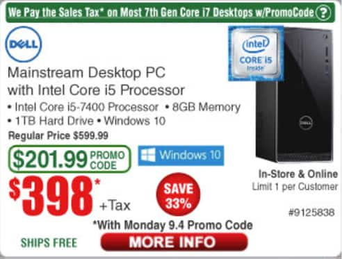 Fry's Electronics - Dell Inspiron 3668 Desktop with i5-7400 Processor, 8GB Memory, 1TB HDD - $398 w/ Promo Code