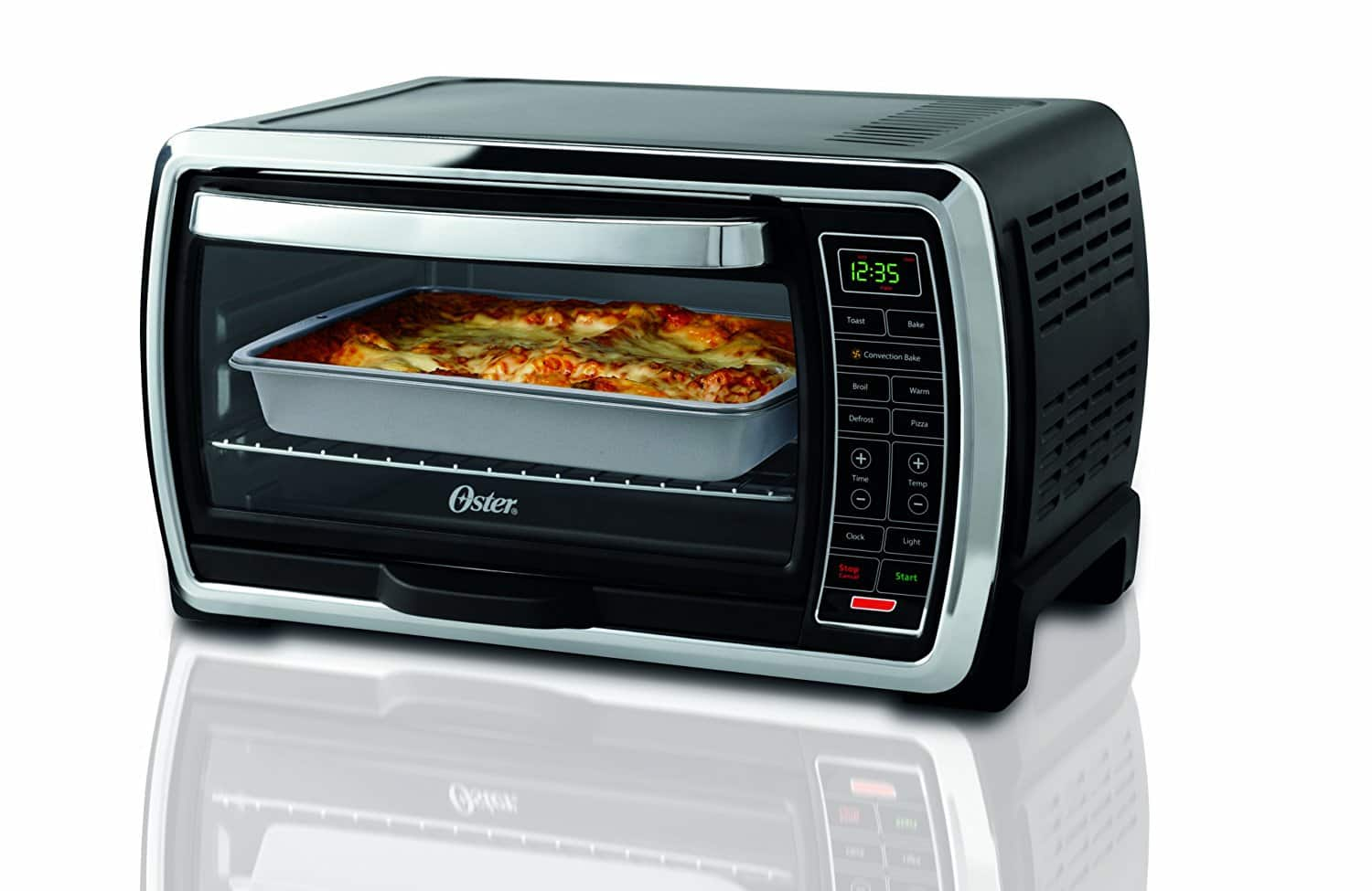$55.99 Oster Large Capacity Countertop 6-Slice Digital Convection Toaster Oven, Black/Polished Stainless, TSSTTVMNDG