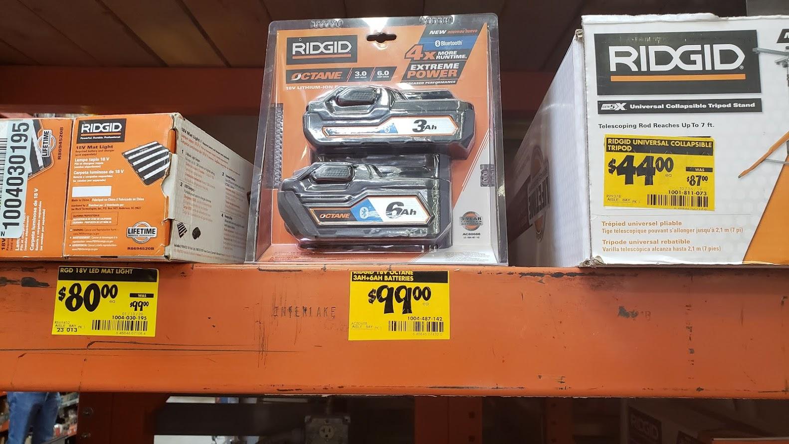 Ridgid Octane 3 Ah + 6 Ah battery combo, Home Depot, $99, Extreme YMMV
