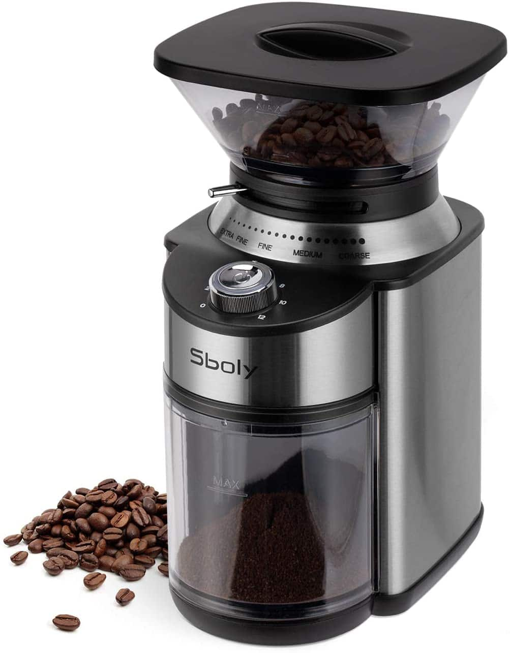 Sboly 40mm Stainless Steel Conical Burr Coffee Grinder, Stainless Steel Adjustable Burr Grinder, $49.99 with Prime