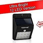 HalloMall's 240Lumens Max 12LED Outdoor Solar Lights Motion Sensor $11.99 AC @ Amazon