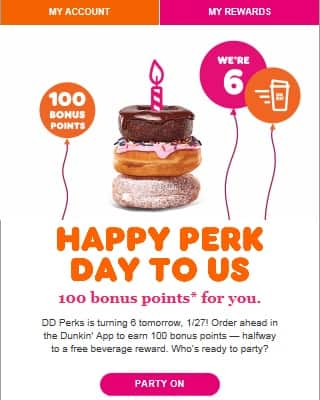 Dunkin Donuts DD Perks 100 Bonus Points for any Order Ahead App order 1/27/2020
