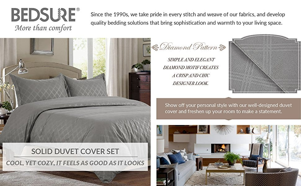 Bedsure Diamond-Pattern Duvet Cover Set(Twin for $11.99  Full/Queen for $16.19 King for $17.99 )