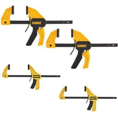 """Dewalt trigger clamps 4 pack 2 x 12"""" and 2 x  4.5"""" at Home Depot in store $19.98"""