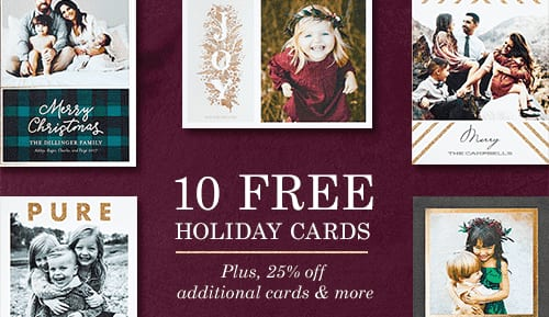 Tiny Prints 10 Free Holiday Cards - Taxes, shipping and handling will apply