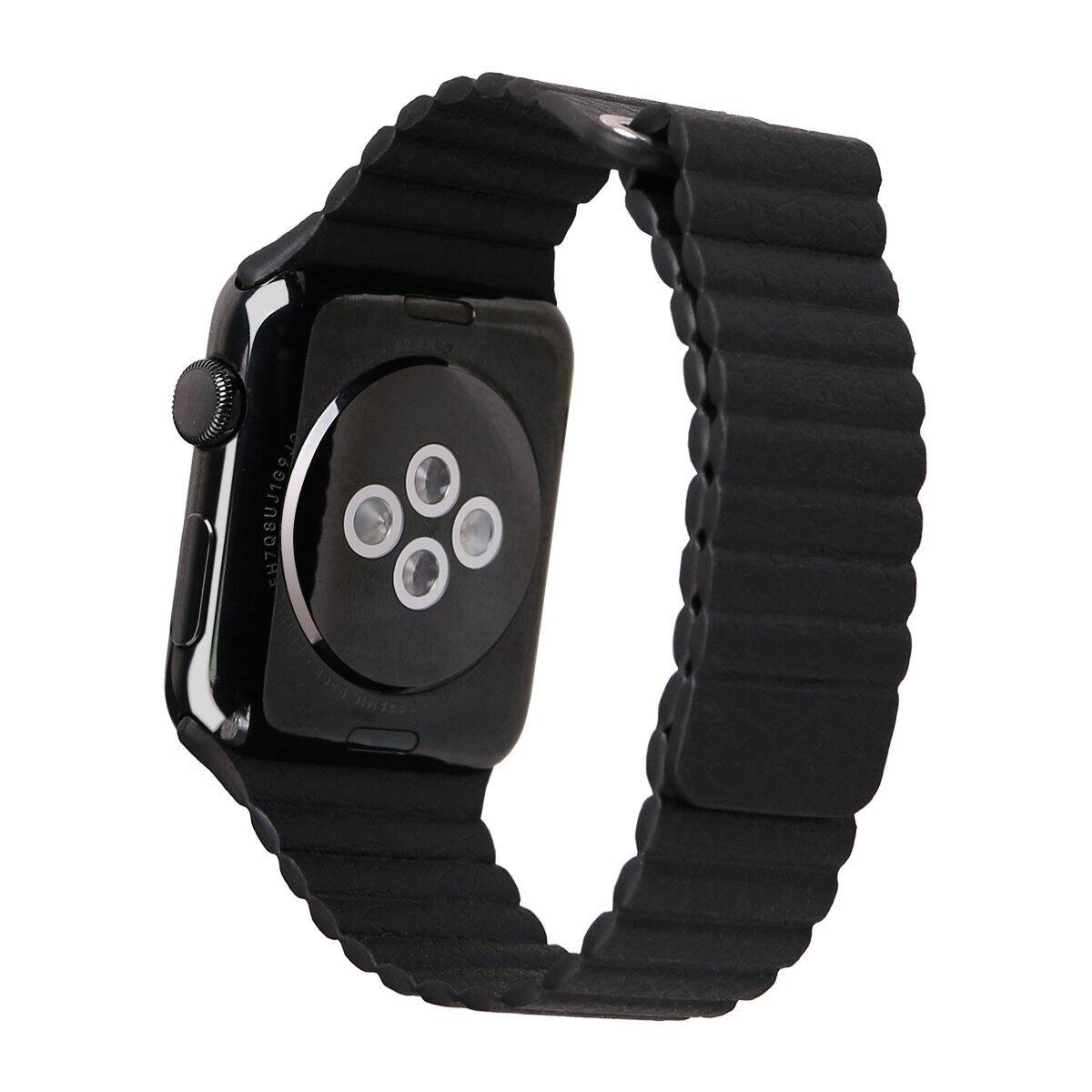 Apple Watch Band Soft Leather Loop with Strong Adjustable Magnetic Closure for 42mm (Black) for $5.99