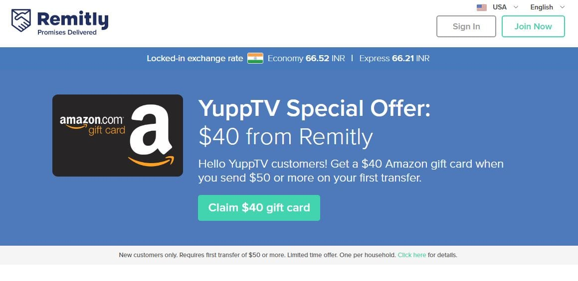 Remitly - YuppTV Special Offer FREE $40 Amazon Gift Card when you transfer $50 or more
