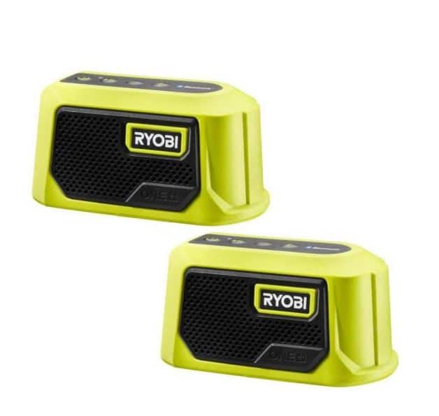 Ryobi ONE+ 18V Cordless Compact Speaker with Bluetooth (2-Pack), for $24.99 $24.97
