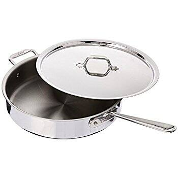 All-Clad 4403 Stainless Steel Tri-Ply Bonded Dishwasher Safe 3-Quart Saute Pan with Lid, Silver - $69.99