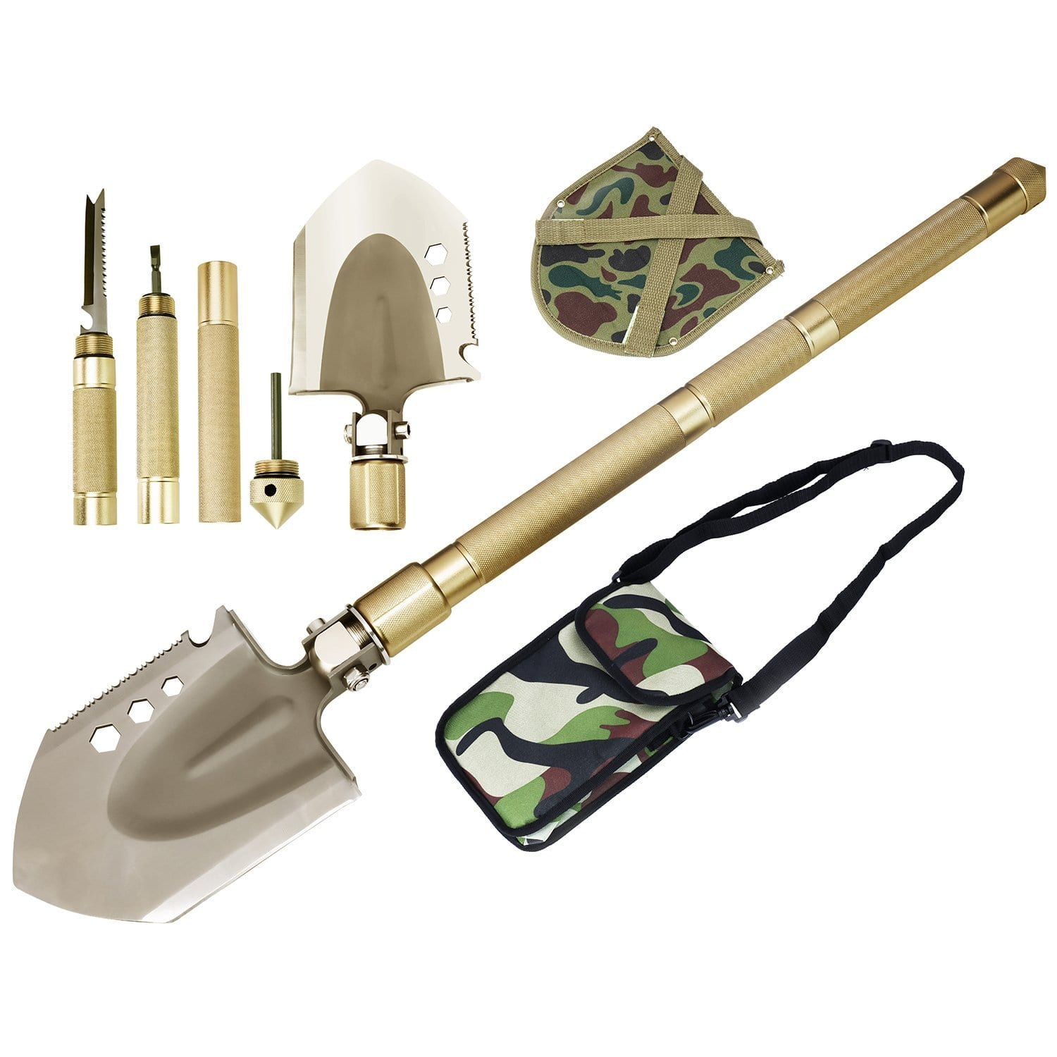 Rose Kuli Compact Folding Shovel Military Portable Shovel Outdoor Tactical Spade for Hiking, Camping, Hunting, Backpacking, Trench Entrenching Tool, Car Emergency - $26.96 @ Amazon