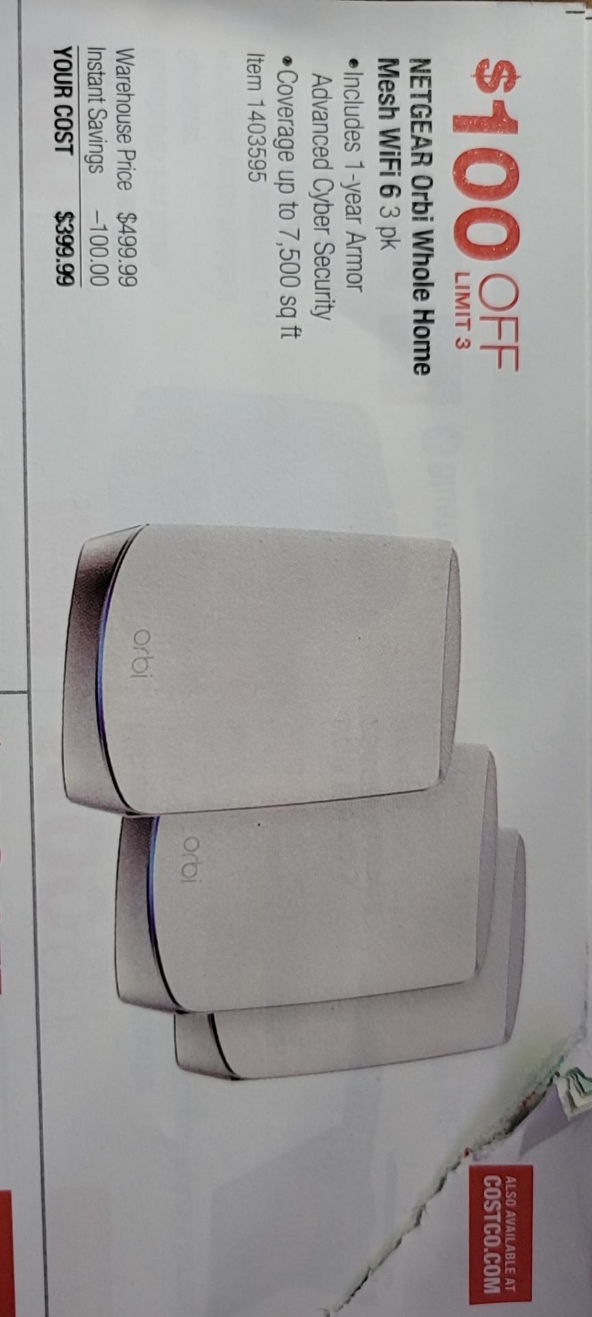 NETGEAR Orbi Whole Home Mesh WiFi 6 System 3-pack $399.99  alive