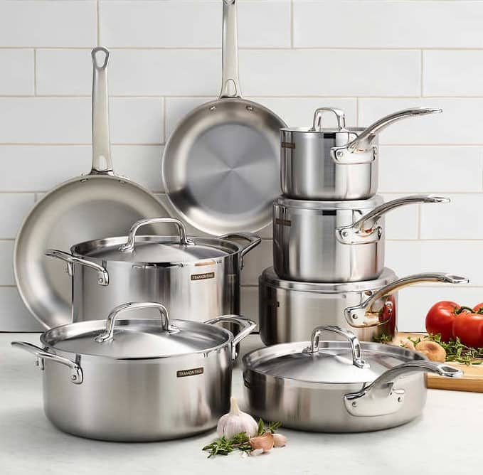Tramontina 14 pc tri-ply clad Cookware set $200