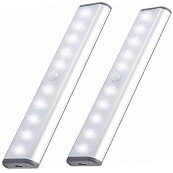 30% off with free shipping.Morpilot PIR Motion Sensor Closet light, USB Rechargeable Cabinet Light, 10 LEDs with Magnetic Strip for Closet Attics Hallway Washroom Night $11.89