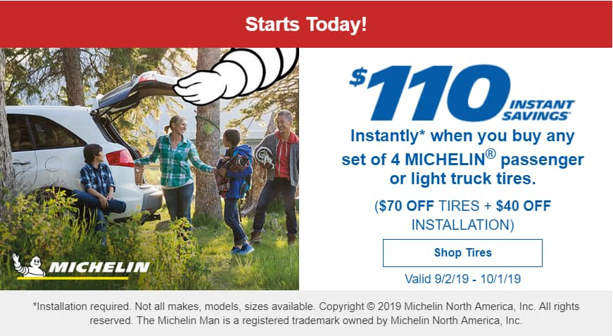 $110 off instantly on 4 Michelin tires @ Costco Valid 9/2/19 - 10/1/19