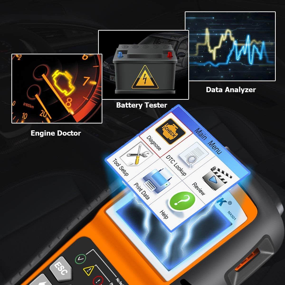 NEXPEAK OBD2 Scanner, NX501 Enhanced OBD II Code Reader Car