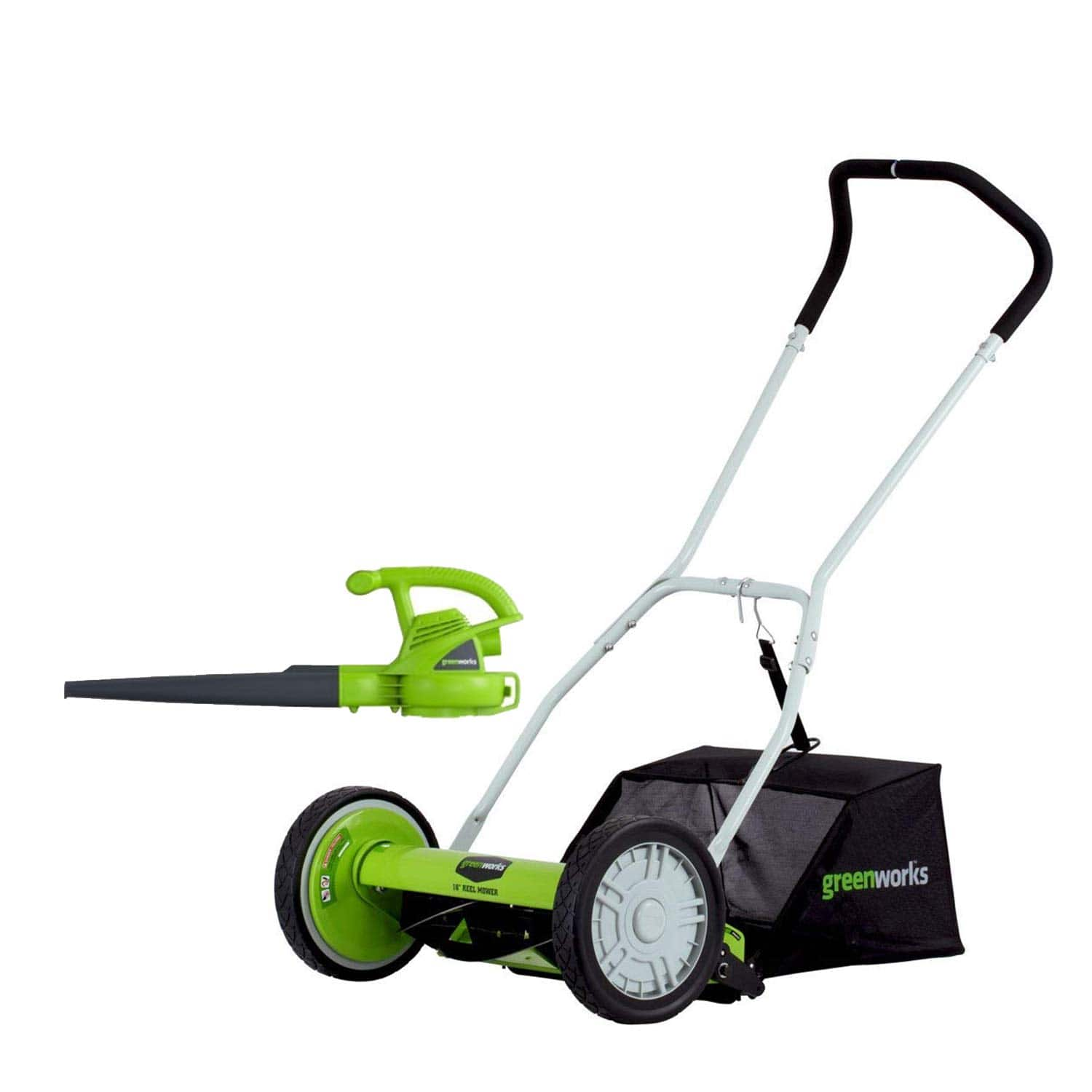 Amazon Warehouse - GreenWorks 16-Inch Reel Lawn Mower with Grass Catcher 25052+ 7 AMP Blower 24012 - Used acceptable - from $54.98