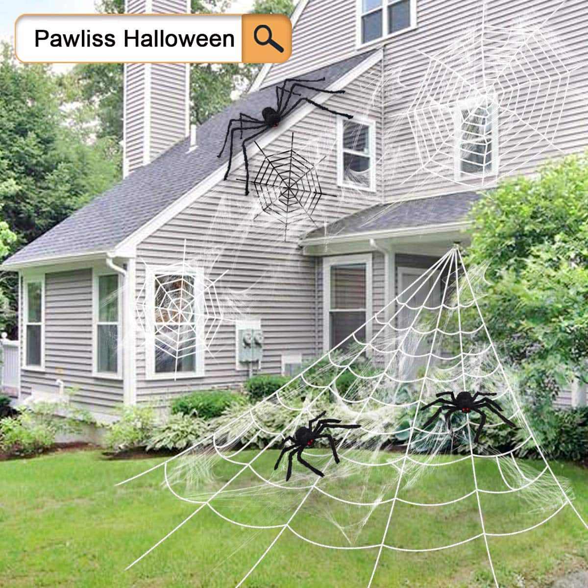 Amazon warehouse - Pawliss Halloween Decorations Outdoor, Giant Dense Spider Web with Super Stretch Cobweb Set Yard Decor, White, 16 feet - used very good $1.71