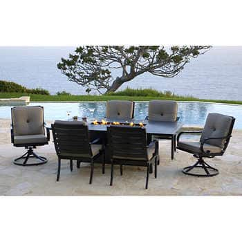 Superb Costco 7 Piece Patio Aluminum Dining Set With Fire Pit 599 Home Interior And Landscaping Staixmapetitesourisinfo