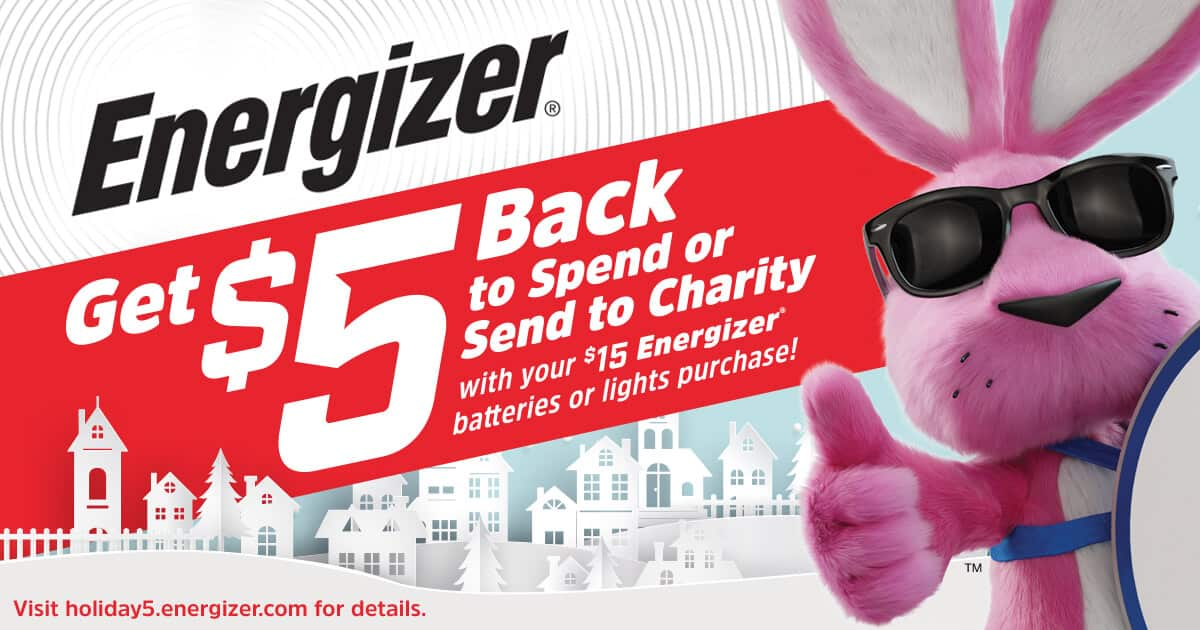 Energizer $5 rebate on $15+ purchase (electronic submission and rebate receipt)