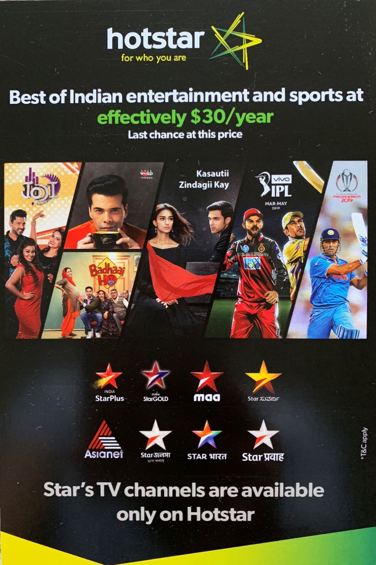 3353e1a9c2b Hotstar USA Annual Subscription effectively at  30 after 40% OFF and  30  Amazon GC (Promo Code - KKNCSTAR) - Expired