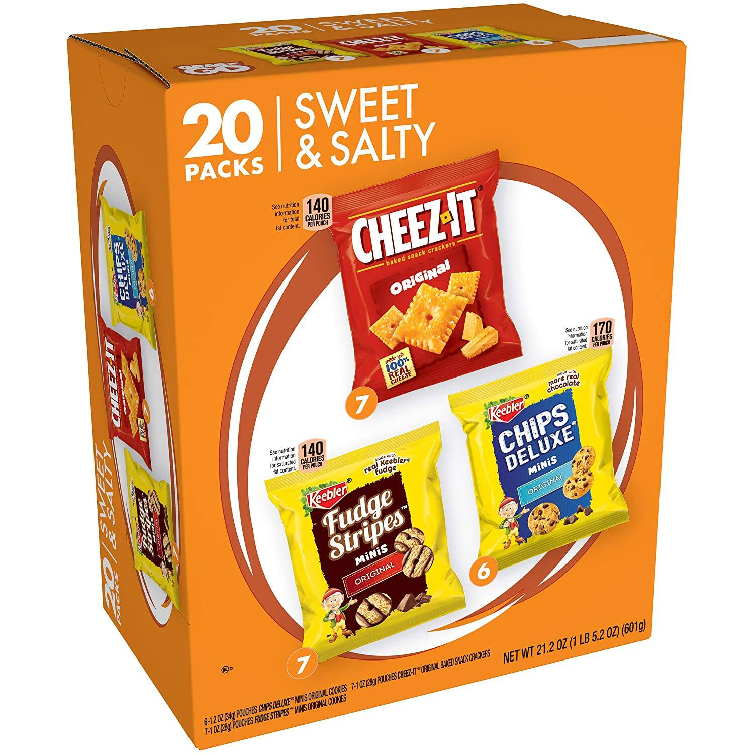80 for $17: Keebler Variety Cookies, Fudge Stripes, Chips Deluxe Original & Cheez-It, 20 Count, 4 Count at amazon FSw/Prime $16.84