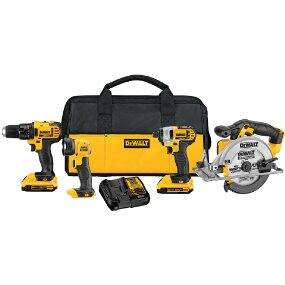 DEWALT 20V Cordless 4-Tool, 2 battery Combo Kit $236 or $30 less - Amazon